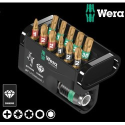 WERA Kit Inserti Mordenti Bit-Check 12 Diamond 1, 12 Pezzi